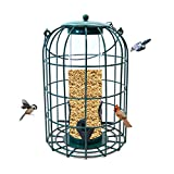 Nature's Rhythm Outdoor Hanging Bird Feeder Caged PC Tube Squirrel Proof Wild Bird Feeder with Large Metal Seed Guard Deterrent