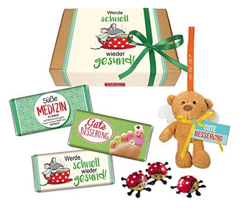 STEINBECK Gute Besserung Geschenkbox Geschenk werde schnell gesund Süße Medizin Mitbringsel Geschenkset Schokolade Schutzengel Plüsch süß Krankenbesuch Erkältung kleine Aufmunterung