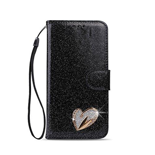 JAWSEU Compatible avec iPhone 5S,iPhone Se Coque Portefeuille PU /Étui Cuir /à Rabat Magn/étique Coeur damour Bling Glitter Brillant Papillon Fleur Diamant Strass Leather Flip Wallet Case