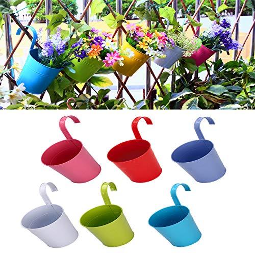 Yomiro Innen Blumentopf Hängend, Blumentopf Balkon Pflanzentopf, Pflanzkübel Mini Metall Eimer, Blumentöpfe Dekoration, Gartenzaun Gartenhaus Vase (8er Set)