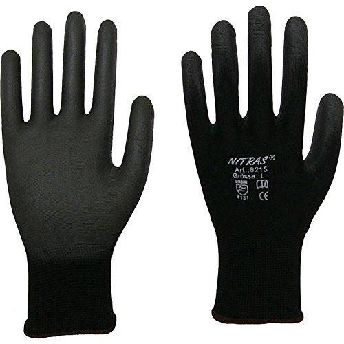 12 Paar Montagehandschuh Nylon NITRAS 6215 schwarz PU Handschuhe Gr.XXXL (11)