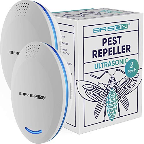 BRISON [2-Pack] Ultrasonic Pest Repeller Plug-in Control Electronic Insect Repellent Gets Rid Mosquito Bed Bugs Roach Spiders Fleas Mice Ants Fruit Fly