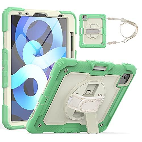 HaoHZ Funda para iPad Pro 11 2nd / 3rd Generation 2021/2020/2018 con Portalápices, Funda Protectora De Silicona A Prueba De Golpes + Soporte + Asa para Hombro,Verde