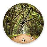 Kncsru Reloj de Pared Redondo Road en Oak Forest en The Plantation of Edisto Island, silencioso, sin tictac, Funciona con Pilas para decoración del hogar, 9,88 Pulgadas