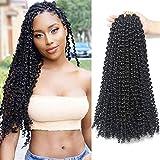 Passion Twist Crochet Hair 9 Packs/Lot 18 Inch Long Bohemian Water Wave Curly Crochet Braids for Passion Twist Crochet Hair Extensions (18' Passion Twist Crochet Hair, 1B)