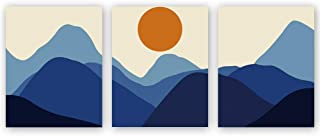 CHDITB Unframed Abstract Sunrise Art Print Modern Mid Century Canvas Art Poster,Set of 3(8''x10'')Rolling Mountains Art Painting,Landscape Art For Living Room Wall Decor