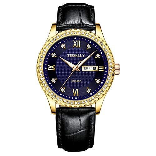 WLKVUOT herenhorloge, kwarts, diamantversiering, lichtgevende horloges, roestvrij stalen armband