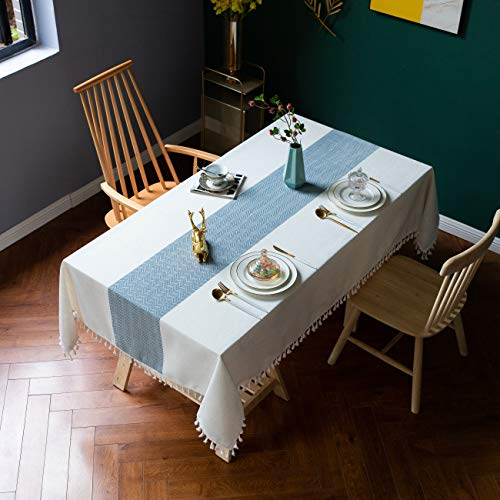 Mantel de Mesa Comedor Mantel Impermeable Mesa Rectangular, Resistente al Agua Anti-Manchas, para Mesa de Buffet, Fiestas, cenas de Navidad - Azul 120x180cm