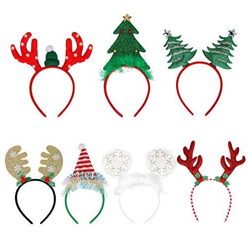 7 pezzi fasce natalizie, cerchietto per capelli con fascia natalizia Brynnl con albero di Natale,...