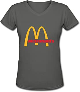 Womens Casual McDonalds Logo Tee T Shirt Short Sleeve V Neck Cotton T-Shirt Sports Tops Shirts for Women Youth Girls