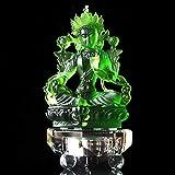 DHTOMC Estatua de Buda Tara de Vidrio Verde,Accesorios de Decoración del Hogar de Lujo,Escultura Piadosa,12.6cm*7cm*4.5cm