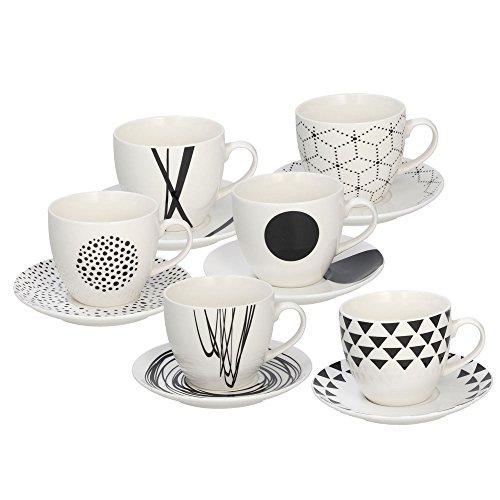 Tognana Graphic Set 6 Espressotassen mit passendem Untertassen, 80 cc, Höhe 6 cm, New Bone China, weiß/schwarz
