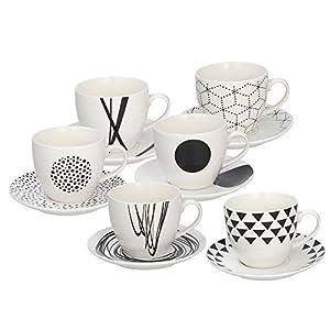 Tognana - Juego de 6 tazas de café Graphic, porcelana, blanco