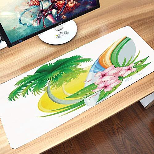 Alfombrilla goma antideslizante para ratón,Surf, Ilustración de Funky Summer Insignia con palmeras y tabla de surf Tidal Bore Print, Green Yell,Lavable, con diseños, para Gamers, PC y Portátil60x35 cm