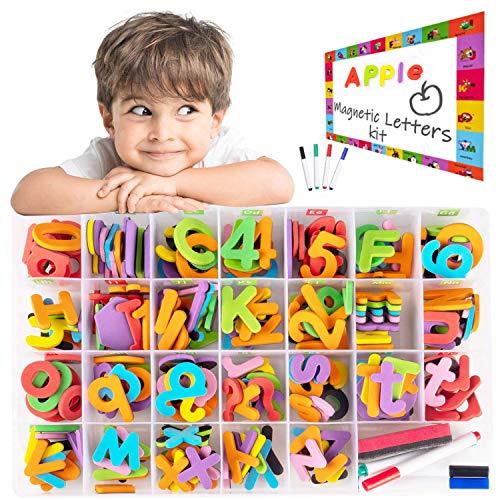 アルファベットパズル 英語パズル 子供のおもちゃ 知育玩具 単語学習 色* 形認知 数字パズル 英語教育 色々遊び方の 指先訓練おもちゃ 誕生日 クリスマス プレゼント234pcs収納ケース付きアルファベット マグネット 大文字 小文字 磁気文字 英語 フォニックス 教室 数字 計算 知育 玩具 プレ大文字2セット+小文字5セット+4水彩ペン 6歳以上