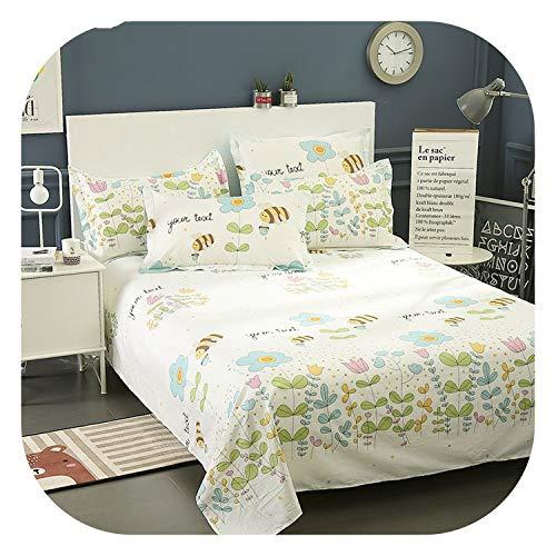 meiguiyuan New Floral Honeybeer Flat Sheet 100% Cotton Bed Sheet for Children Adults Bedding Mattress Protector Cover Twin Full Queen King,Red,200x230cm Sheet 1Pc