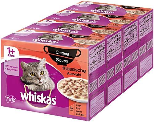 Whiskas 1 + Creamy Soups Katzenfutter – Klassische Auswahl – Hochwertiges Nassfutter – 48 Portionsbeutel à 85g