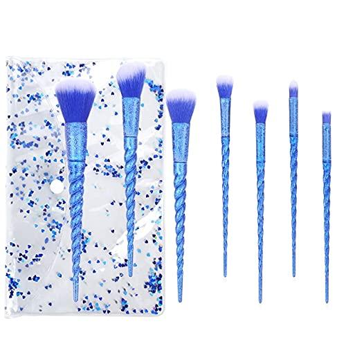 Glitter gommage licorne pinceau de maquillage ensemble fond de teint fard à paupières ombre à paupières mixte pinceau à sourcils maquillage pour les yeux du visage - 7pcs darkB et pochette