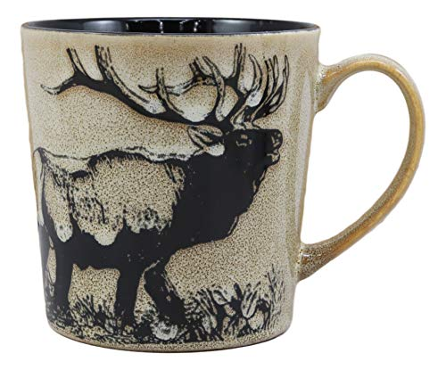 Ebros The Emperor Giant Stag Elk Deer Drinking Beverage Ceramic Mug 16oz Drink Coffee Cup Glazed Earthenware Rustic Kitchen And Dining Accessory Decor For Deers Bucks Trophy Wildlife Animals