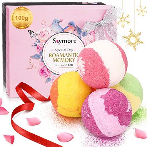 Bombe da Bagno Skymore, 4x100g,Confezione Regalo per San Valentino, Naturali a Mano, Ricche e Colorate, Aromaterapia, Idea regalo, donna Vegan