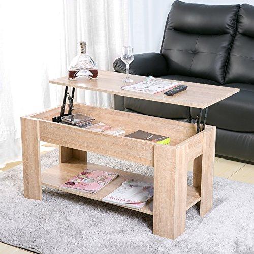 Mingfuxin Mesas de centro de madera de elevación hidráulica, moderna mesa de té flotante retráctil con almacenamiento y estante para el hogar, sala de estar, oficina, sala de estudio (roble)
