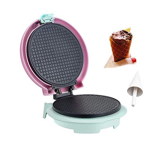 Gpzj Waffle Cone Maker Cono de Helado eléctrico Waffle Maker Machine Placas de Revestimiento Antiadherente de Acero Inoxidable para Uso doméstico, 3 Colores, Amarillo