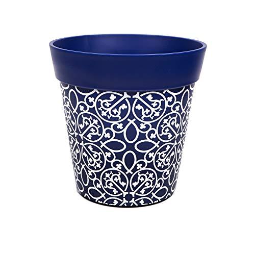 Hum Blumentöpfe, Zierornament, blau, Pflanztopf, Pflanzgefäß aus Kunststoff für drinnen und draußen, 22 x 22cm