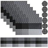 Famibay - Tovagliette in PVC intrecciate per tavolo da cucina, 4 - 30 x 45 cm, plastica, N...
