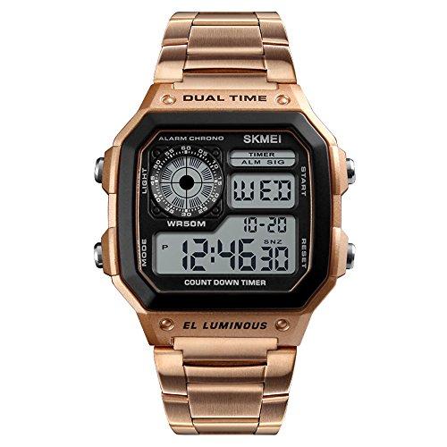 SKMEI Sport Edelstahl Herrenuhr Digital Backlight Mann Armbanduhr Männlich Chronograph Armbanduhr (Roségold-1)
