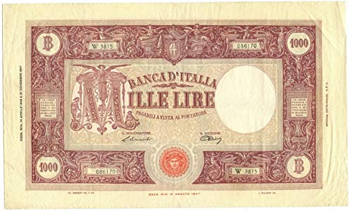 Cartamoneta.com 1000 Lire BARBETTI Grande M Medusa BI Repubblica Italiana 14/04/1948 BB+