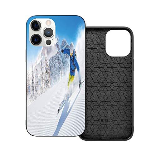 Compatible con iPhone 12 / iPhone 12 Pro Case Skier Skiing Downhill in High Mountains, funda protectora de TPU suave antideslizante