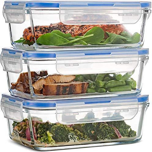 Luftdichte Glasbehälter mit Deckel - 3er-Pack, 100{1ad0a7150577a75601c0b52934d742b217183a2e01bed83410fb16a8c56df193} auslaufsichere BPA-freie Aufbewahrungsbox mit Deckel - Gefrierschrank- und ofenfest - Glasbehälter für Lunchboxen zum Mitnehmen - 850ml