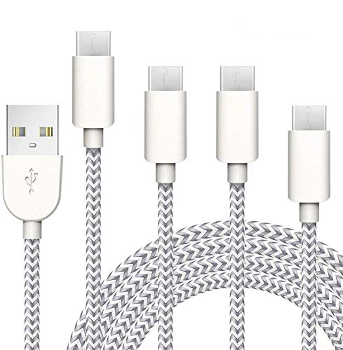 Riksoin USB C Cable Fast Charging,4 Pack(3/6/6/10FT) USB A to Type C Charger Nylon Braided Cord for Samsung Galaxy S10/S10plus S9 S8 Note 9/8, LG, Huawei P30/P20(Silver&Gray)