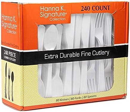Cubertería transparente de plástico resistente, desechable, paquete combo blanco, Blanco, 1
