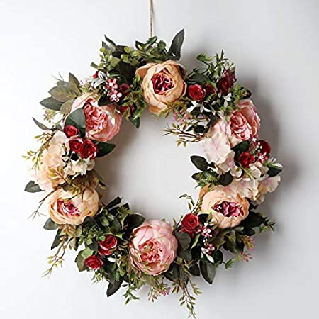 Window Pendant Hanging Ornament Decoration Props LWAN3 Artificial Wreath Burlap Knot Faux Rose Flower Spring Front Door Welcome Gift
