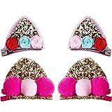 EVECH Süß 2 Paar Haarspangen für Mädchen Kinder Baby, Glitzer Katzenohren Blume Haarball Haarclips Haarbögen Haarklammern Haarschmuck Set