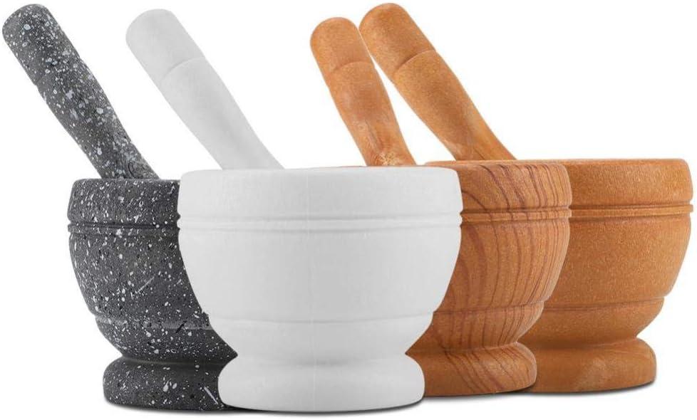 LIKEZZ Manuelle Kunststoff Knoblauchschleifer Gewürze Kräuter Mörser Pistill Set Mahlbecher Küche Kräuter Pfeffer Gewürzmühle Werkzeug, WEIß White