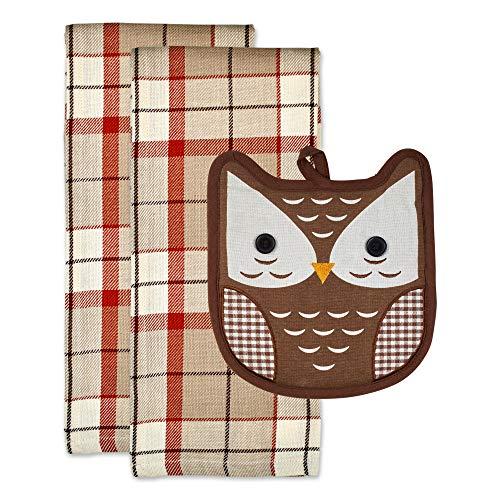 DII Kitchen Textile Collection Fall Gift Set, Dishtowel & Potholder, Autumn Owl 3 Count