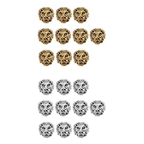 Bonarty 20 Piezas de Plata Tibetana, Oro, Cabeza de León, Cuentas Espaciadoras, Hallazgos de Joyería DIY