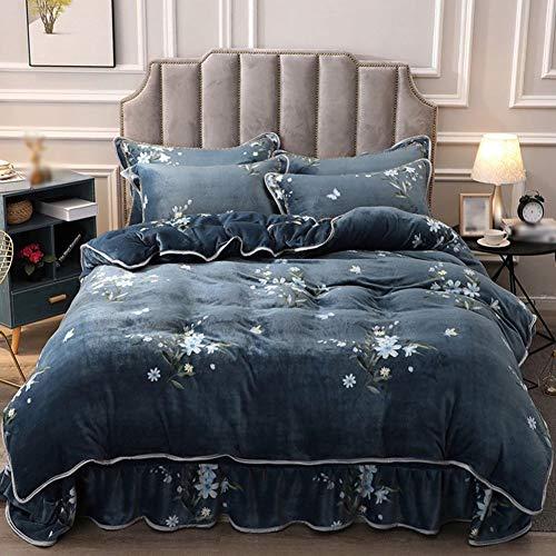 CQL Plissé Bed Rok Verdikt Goud Fluweel Thuis 4 Stuk Set Comfortabele Warm Anti-Statische Geschikt Voor Slaapkamer 2.0 M (78.7 Inches) Bed