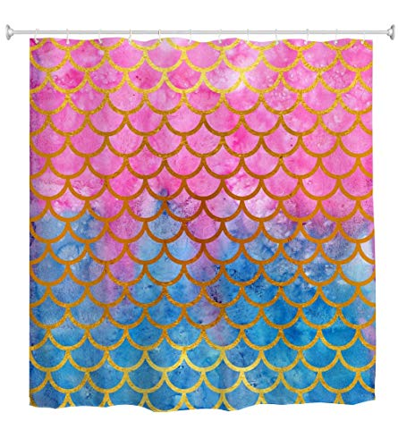 Mimihome Mermaid Scales Bathroom Shower Curtain Watercolor Fish Theme Shower Curtains Set 12 Hooks Waterproof Bath Curtain Bathroom Accessories , 72W by 72H Inch, Pink Blue