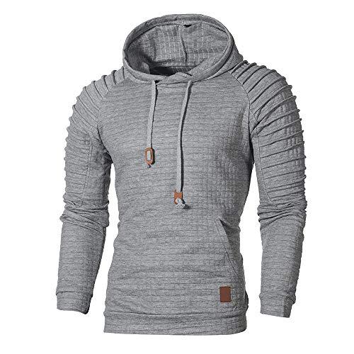 KPILP Herrenmode Übergröße Herbst Winter Langarm Shirt Plaid Hoodie Kapuzen Sweatshirt Top Tee Outwear Bluse(Grau, 2XL