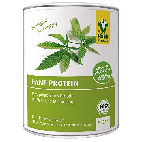 Raab Vitalfood Bio Hanfprotein-Pulver, vegan, gute Bioverfügbarkeit, Protein-Pulver mit 49% pflanzlichem Protein und Omega-3-Fettsäuren, Eiweiß-Pulver, Hanf-Mehl 1er Pack (1 x 125 g)