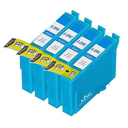 King of Flash - Cartuchos de tinta compatibles con impresoras Epson Expression Home XP-235, XP-245, XP-332, XP-335, XP-342, XP-432, XP-435, XP-442, XP-445, XP-247, XP-345, color cian 4 Cyan