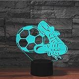 ZWANDP Lámpara 3D Lámpara de ilusión óptica visual Fútbol y zapatos Adecuado para el dormitorio Amigos Cumpleaños Regalos de San Valentín con carga USB-Grieta táctil