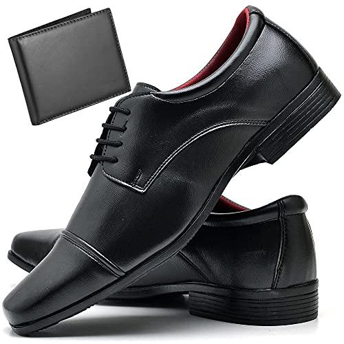 Sapato Social Com Carteira Masculino ZARU 807DB Tamanho:39;cor:Preto;gênero:Masculino