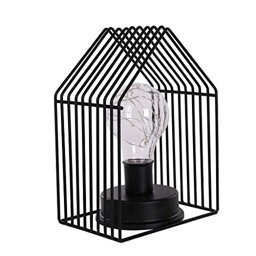 Pinleg Nordic Style Small House Lamp Creative Light Nightstand Lamps The Best Gifts Decoration for Kitchen Bedroom Living Room College Dorm Kids Room (Black)