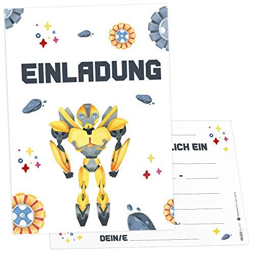 12x Transformer Einladungskarten inkl. Umschläge perfekte Einladung zum Kindergeburtstag oder Kinder Party | Geburtstag-Einladungen zum ausfüllen (Transformer)