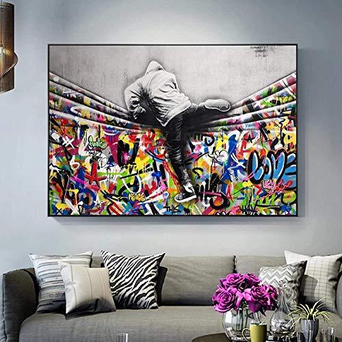 Banksy Images imprimées sur toile Graffiti Tableau mural Banksy handicapd The Curtain Street Art Peinture impression sans cadre B 60 x 120 cm
