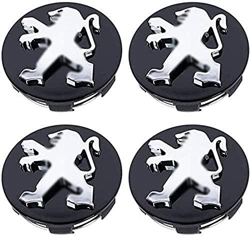 4 Piezas Coche Rueda Buje Tapas Centrales para Peugeot 206 207 208 308 408 508 2008 3008 60mm, Tapones Impermeabl Polvo Decorativo Accesorios Ornamentales con Logo